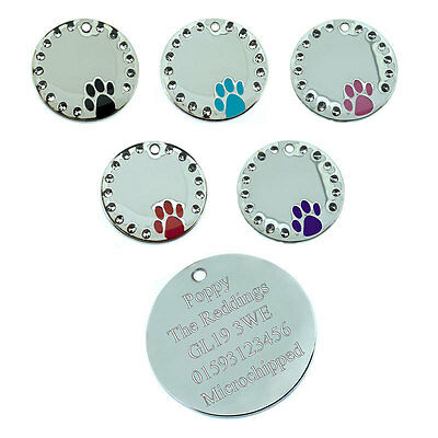ID Pet Tags Round Crystal Dog Paw Pet Tag Design FREE ENGRAVING and FREE P&P