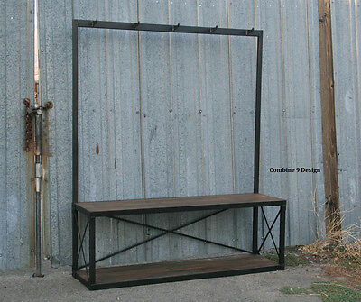 Vintage Industrial Coat Rack with Seat/Bench. Mid Century Modern. Reclaimed Wood