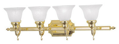 Polished Brass 4 Light Livex French Regency Bathroom Vanity Wall Lamp 1284-02