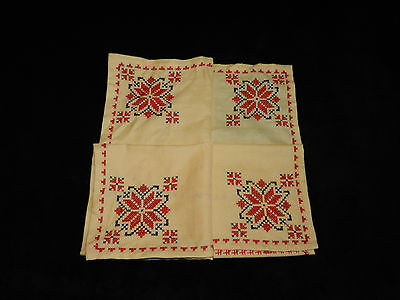 """vintage hand embroidered table cover  28.5""""/28.5""""   n5622"""
