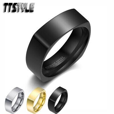 TTstyle Engravable Plain Stainless Steel Square Comfort Fit Wedding Band Ring