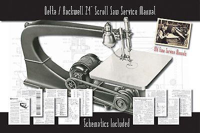 "Delta/Rockwell 24"" Scroll Saw Owners Service Manual Parts Lists Schematics etc."