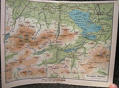 Map KILLARNEY DISTRICT Lakes MacGillycuddy Reeks IRELAND J Bartholomew 1890s
