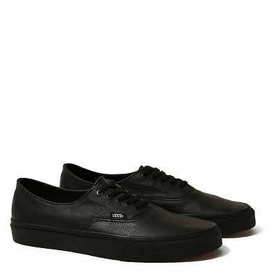 Vans Shoes Authentic USA SIZE Italian Leather Black School Shoe Skate Sneakers