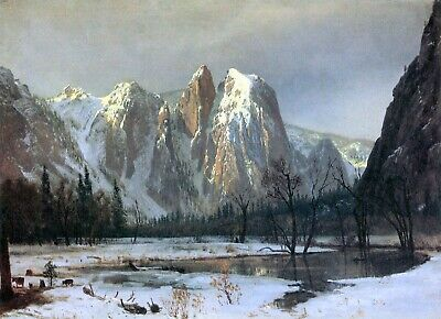 Cathedral Rocks, Yosemite by Albert Bierstadt Giclee Fine Art Repro on Canvas