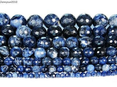 Natural Sodalite Jasper Gemstone Faceted Round Beads 15'' 4mm 6mm 8mm 10mm 12mm