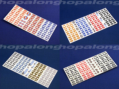 Scalextric/Slot Car 1/32 Race Number Waterslide Decals. Choose from 4 Styles
