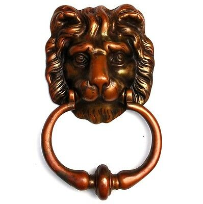 Antique LION DOOR KNOCKER Large Brass British UK England Peerage Vtg