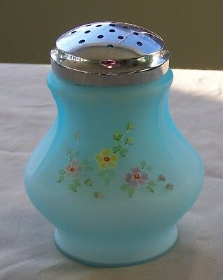 L G Wright Cased, Blue Satin Sugar Shaker. hand painted
