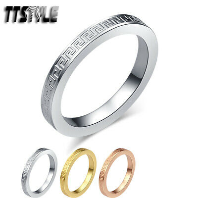 TTstyle 2.5mm Stainless Steel Engraved Greek Pattern Band Ring Choose Colour