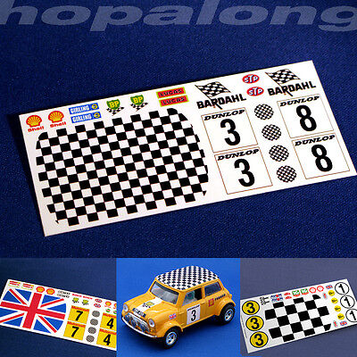 Scalextric/Slot Car 1/32 Scale 'Mini' Waterslide Decals. Various Designs.