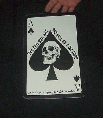 LARGE LEATHER ARABIC ACE OF SPADES DEATH CARD BIKER JACKET MILITARY BACK PATCH