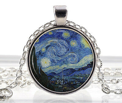 Van Gogh Starry Night Necklace - Art Pendant - Famous Painting Jewelry Gift