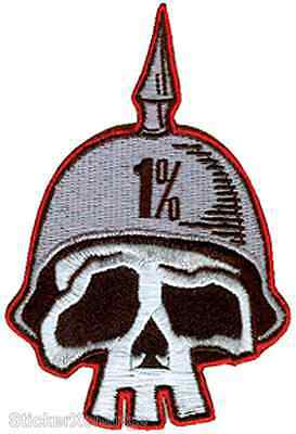 One Percent Embroidered Patch Skull Spike Helmet Outlaw 1% Art Rob Kruse RKP2