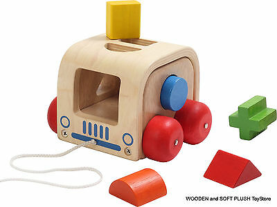 NEW wooden PULL-ALONG toy SLOT MOBILE child PRE-SCHOOL ACTIVITY sorting SHAPES