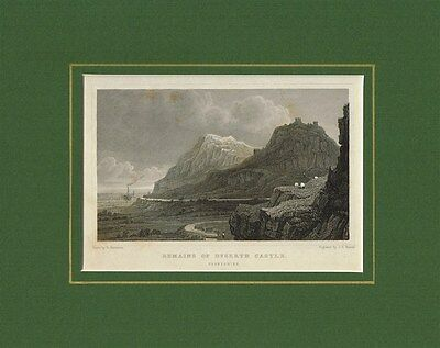 Antique Old Engraving Print of Dyserth Castle Remains Flintshire Wales   c1831