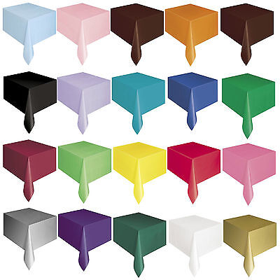 PLASTIC TABLECOVERS Party Table Cloth Cloths Rectangle Oblong 20 Colours