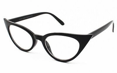BLACK Pointy Sharp Rockabilly Cat Eye Clear Lens Glasses 50s Retro Style