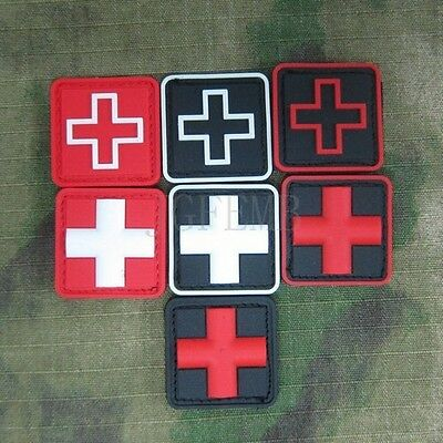 2 pieces Red Cross Medical Relief 3D PVC Patch Soft shell Small