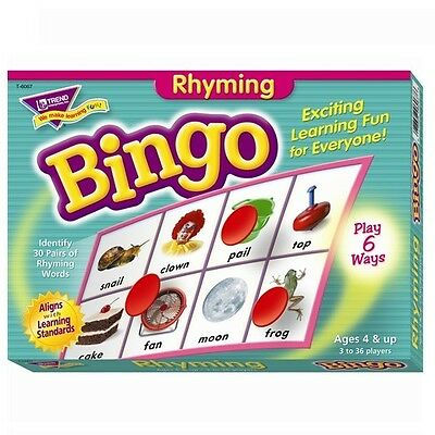 Rhyming Words Bingo Game Builds Early Reading Language Skills ESL Special Needs