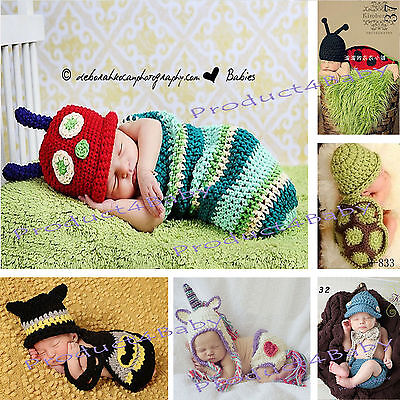 New Baby Boy Girl Crochet Beanie Costume Outfit Set Hat 0-3 3-6 Mhts Photo Props