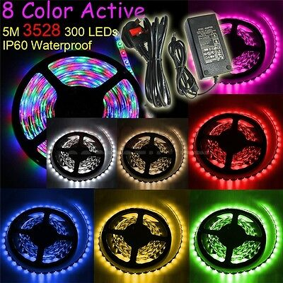 8 Color 5M 3528 SMD 300 LEDs Waterproof Flexible Strip Light/12V 5A Power/Remote