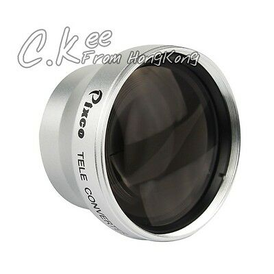 25mm 2.0X Tele Lens with Silver For JVC Canon Sony DV Camcorder