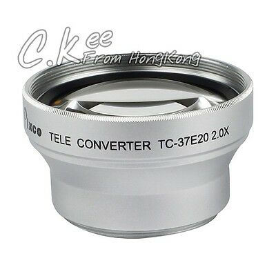 37mm 2.0X Tele Lens with Silver For JVC Canon Sony DV Camcorder