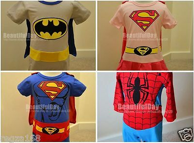Baby Boy Girl Superhero Spiderman Batman Babygrow Outfit Fancy Costume Playsuit
