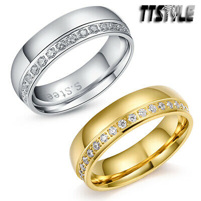 TTstyle 6mm Width .90 Carat CZ Eternity Stainless Steel Wedding Band Ring