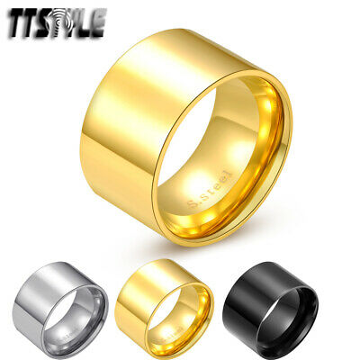 TTStyle 14mm Width Gold Stainless Steel THICK Band Ring Size 6-13 NEW