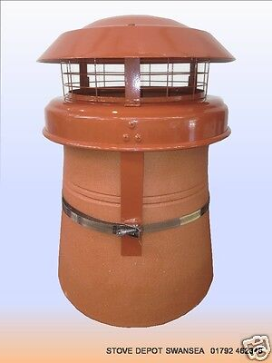 anti down draught terracotta Cowl for round chimney pot strap fix