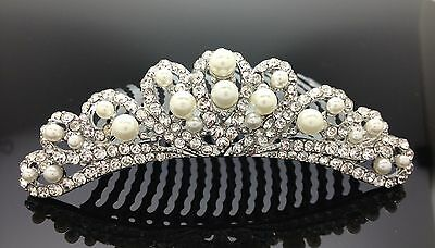 Bridal Wedding Crystal Pearl Hair Comb Clip Silver Deb Formal 9.5cm Diamante