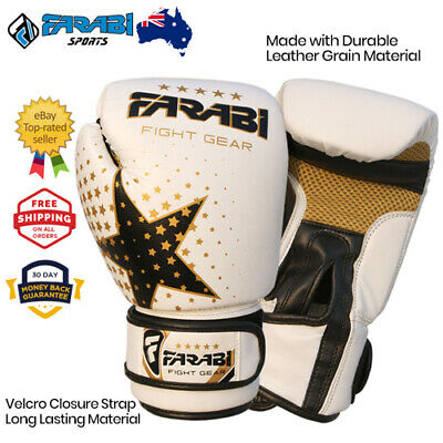 Kids Boxing gloves 6 oz MMA Muay thai junior punch bag mitts - White