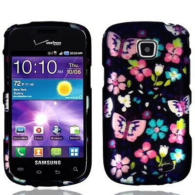 Samsung SCH-i110 Illusion Snap-On Flower Butterfly Rubberized Hard Phone Cover