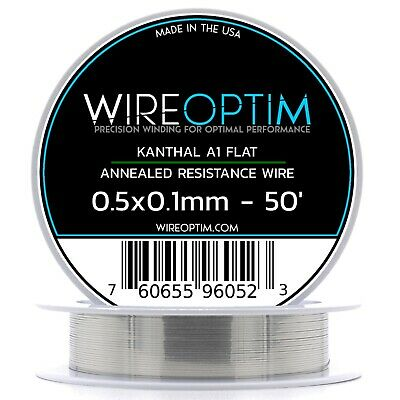 Kanthal Ribbon A1 Wire 50ft Roll 0.5mm X 0.1mm , 8.52 Ohms/ft Resistance