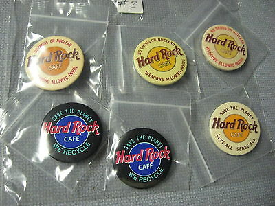 Lot Of 6 NEW Hard Rock Cafe Button Pins Save The Planet Black & Tan