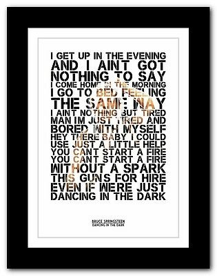 ❤  BRUCE SPRINGSTEEN - Dancing  song lyric poster typography art print - 4 sizes