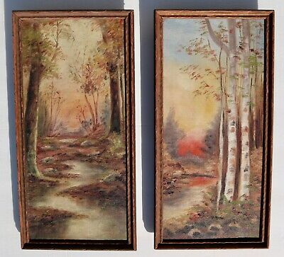 Two - Pair of Antique Signed Framed Landscapes Original Oil Paintings on Canvas