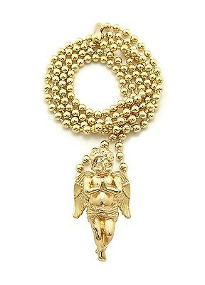 "New PRAYING ANGEL Micro Pendant &3mm/27"" Ball Chain Small Fashion Necklace MMP3"