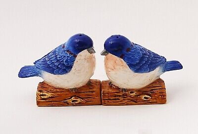 Ceramic Magnetic Salt and Pepper Shakers Collectibles Blue Birds Couple in Love