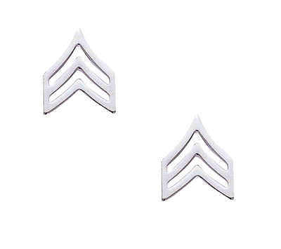 Us Army Police Sergeant Chevron Silver Nickel Collar Brass Insignia Pins Large