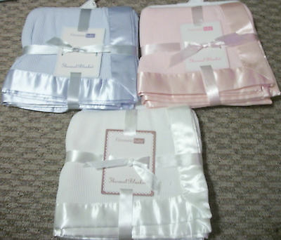 New Vitamins Baby Blue Pink Ivory Waffle Weave Thermal Blanket W/ Satin Trim