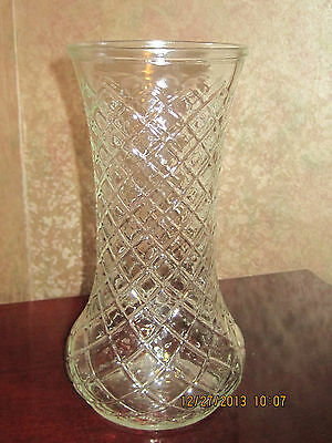 Vintage Collectible Clear Glass Rose Vase Diamond Cut Pattern Hoosier Glass 4087
