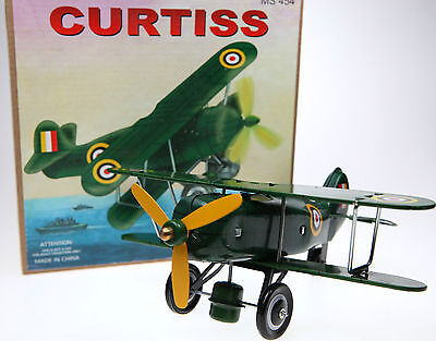 Tin Toy Fighter Plane WW1 Biplane Clockwork Rolls Along and Propellor Spins