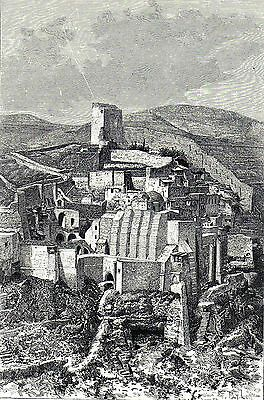 Antique print The Great Lavra of Sabbas the Sanctified  Mar Saba Kidron Valley