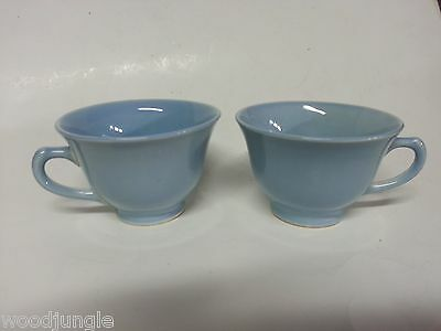 2 BLUE LU-RAY PASTELS COFFEE CUPS T.S.& T  Taylor Smith  ART DECO