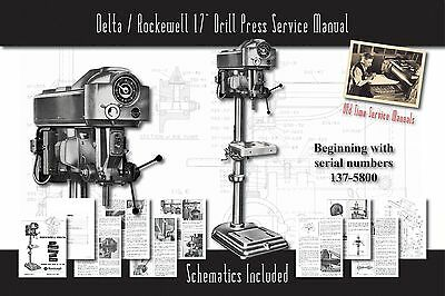 """Delta/Rockwell 17"""" Drill Press Owners Service Manual Parts Lists Schematics etc."""