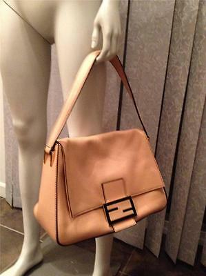 FENDI Mama Mamma Leather Zucca Flap Foldover Large Shoulder Hand Bag Beige   1490 29db5a6d0ce83