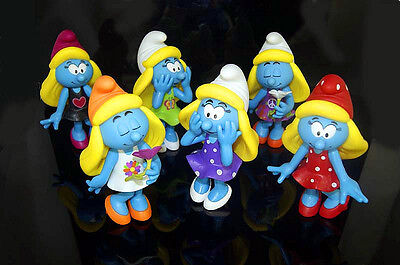 Set of 6 The Smurfs Plastic toy Moveable Action Figure BRAND NEW 13CM